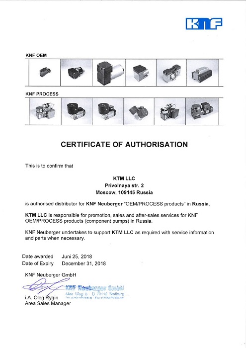 KNF Authorisation Certificate