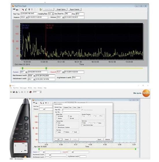 Окно программного обеспечения testo 816-1