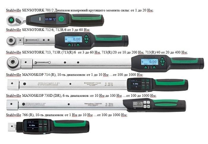 Ключи моментные электронные Stahlwille, серий 701, 712, 713, 714, 730D, 766